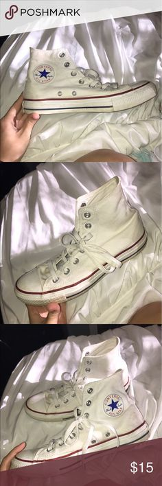 High top converse! High top converse! Size 8! They need new shoelaces and could use a good cleaning tbh but fix those minor details and good as new :-) Shoes Sneakers