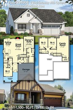 Architectural Designs House Plan 42340DB gives you 2 beds, 2 baths, a basement option and over 1,500 square feet of heated living space. Ready when you are. Where do YOU want to build? #42340DB #adhouseplans #architecturaldesigns #houseplan #architecture #newhome #newconstruction #newhouse #homedesign #dreamhome #dreamhouse #homeplan #architecture #architect #bungalow #craftsman #bungalowlife