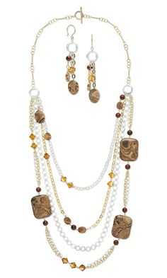 Multi-Strand Necklace and Earring Set with Yellow Leopardskin Jasper Gemstone Beads, Brecciated Jasper Gemstone Beads, Swarovski Crystal Beads and Gold-Filled and St6erling Silver Chain - Fire Mountain Gems and Beads