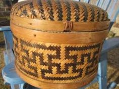 African Basket with Dark and Light Straw Weaving Patterns