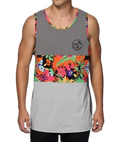 Get classic in tropical fashion with this soft cotton blended tank top that features a colorblock design with floral print detailing and a Vans logo graphic printed at the chest. Dope Outfits, Fashion Outfits, Tropical Fashion, Surfer Style, T Shorts, Floral Tank Top, Striped Tank, Mens Clothing Styles, Look Cool