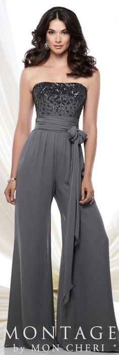Strapless chiffon high waist jumpsuit features a bodice encrusted with hand-beading, ruched wrap tie belt at midriff, flowing wide pant legs, suitable for wedding guests and formal events. Matching shawl and removable straps included. Jumpsuit Outfit, Look Chic, Formal Wear, Strapless Dress Formal, Beautiful Dresses, Evening Dresses, Cool Outfits, Stylish Outfits, Party Dress
