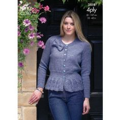 Cardigan & Sweater in King Cole 4 Ply (3418) $4.79