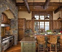 Love the stone, love the wood, love the stove...