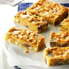 Chunky Blond Brownies Recipe- Recipes  Every bite of these chewy blond brownies is packed with chunks of white and semisweet chocolate and macadamia nuts. It's a potluck offering that stands out. —Rosemary Dreiske, Lemmon, South Dakota