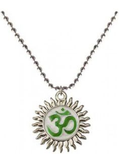 SILVER::GREEN OM CHAIN PENDANT sun pendant gold,sun pendant silver,sun pendant designs,gold sun pendant in india,gold sun pendant necklace,sun shaped gold pendant,sterling silver sun pendant necklace,mens jewellry, jewellery for men online,menjewell.com