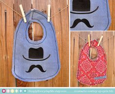 Mustache Cowboy Baby Bib  Upcycle by SimplyEverydayMe on Etsy