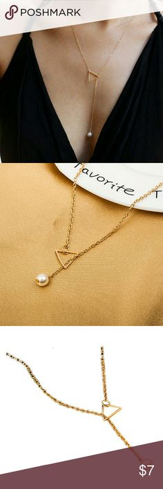 Hollow Triangle Pearl Pendant Necklace Fashion Hollow Triangle Pearl Pendant Necklace chain.  Length: 42cm  Available Color: Antique Gold Plated or Antique Silver Plated.   *** Please leave me comment of your choice when ordering. Jewelry Necklaces