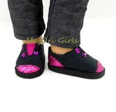 """American Girl 18"""" doll shoes """"Brite"""" sparkle or metallic slip on sneakers"""