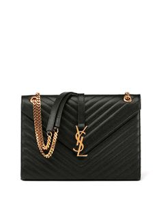 Monogram+Matelasse+Leather+Chain-Strap+Shoulder+Bag,+Black+by+Saint+Laurent+at+Neiman+Marcus.