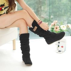 Women's Suede Leather Flat Heels Boots Shoes Cuff Slouchy Mid-Calf Ladies