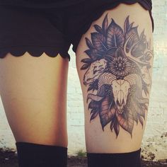 in tattoos Cool thigh tattoo. Love the animal skulls. owl tattoos Aztec calendar tattooed by Eiland Hogan Skull Thigh Tattoos, Thigh Tattoo Designs, Body Art Tattoos, Girl Tattoos, Tattoos For Women, Tattoo Thigh, Tatoos, Badass Tattoos, Female Leg Tattoos