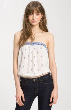 Free People 'Into the Night' Strapless Smocked Blouson Top | Nordstrom