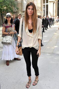 Loose silk button up with legggings. Bianca Brandolini