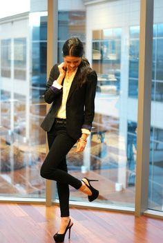 I don't know about the size of that heel...but everything else about this work attire look is great!