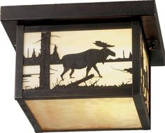 10 Inch Sq Hyde Park Moose Creek Flushmount - Custom Made. 10 Inch Sq Hyde Park Moose Creek flush mountThe majestic North Woods Moose is depicted on this handsome American Craftsman style flush mount. The fixture, handcrafted in the USA by Meyda artisans, is finished in Craftsman Brown and has Beige art glass panels. Theme:  ARTS & CRAFTS Product Family:  Hyde Park Moose Creek Product Type:  CEILING FIXTURE Product Application:  FLUSH MOUNT Color:  BEIGE CRAFTSMAN Bulb Type: MED Bulb…