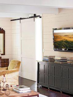 Sliding barn doors look great in a modern farmhouse.