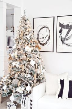 boxwood clippings | gold and white christmas tree - updated tree with white spray paint