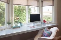 Samantha Gluck Interiors - dens/libraries/offices - Greek Key Strip, bay window with built-in desk