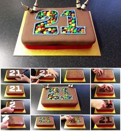 How to Make M&M Filled Birthday Cake Number Birthday Cakes, Number Cakes, Fondant Cakes, Cupcake Cakes, Chocolate Box Cake, Marble Cake Recipes, Cake Craft, Protein Cookies, Dessert Decoration