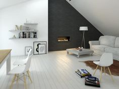 living/dining areas zoned by the wall colours - deep charcoal grey and pure white