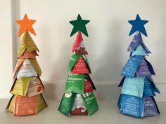 Tea Bag Christmas Tree Tutorial - One Hundred Dollars a Month Christmas Gifts To Make, Christmas Favors, Christmas Gift Baskets, Christmas Bags, Diy Christmas Tree, Christmas Tree Toppers, Holiday Fun, Holiday Gifts, Christmas Decorations