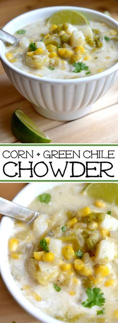Potato, Green Chile and Corn Chowder - an all-season soup full of great flavor. - Potato, Green Chile and Corn Chowder – an all-season soup full of great flavor. Potato, Green Chile and Corn Chowder – an all-season soup full of great flavor. Healthy Soup Recipes, Chili Recipes, Mexican Food Recipes, Cooking Recipes, Vegan Chowder Recipes, Chili Soup, Soup And Sandwich, Soup And Salad, Soups And Stews