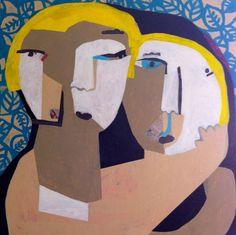Helen Oprey Mother & Daughter - 2014 Mixed media on canvas 100 x 100 cm  Enquiries: info@19karen.com.au