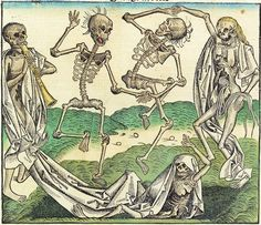 to Hans Holbein the younger (ca woodcut in Hartman Schedel; ( Attribution is inconsistent with this picture being in 1494 Nuremberg Chronicle ) Hans Holbein, Dance Of Death, Memento Mori, La Danse Macabre, Macabre Art, Black Death, Free Novels, Vanitas, Art Graphique