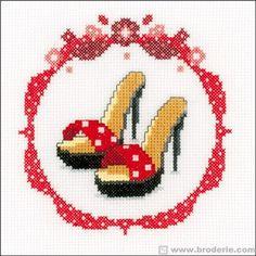 point de femme escarpins rouges - cross stitch red shoes
