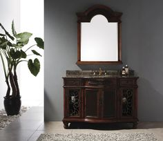 """Venetian 53"""" Single Sink Bathroom Vanity Cabinet - Brown Cherry Finish - Relax in your own private retreat. The Venetian collection offers ornate detailing and trim to create the perfect place for you to enjoy a spa-like experience. With wrought iron accents on the doors and matching wrought iron hardware, this piece is lavish in detail that will take your vanity to a new level of excellence."""