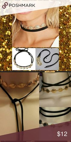 Tie On Wrap Around Blk Suede Gold Boho Choker 50in Long Black Suede N Gold Coin Pendant Chain ribbon Choker Statement necklace  Tie On Wrap Around Versatile High quality Bohemian chic style gypsy hippie 90s retro  What u see is what u get ⭐$$WHOLE CLOSET IS ON SALE$$⭐ ⛔MARK DOWNS⛔DISCOUNTS ✔ROCK BOTTOM PRICES✔ ⚡Next day Shipping⚡ ➕10% off when u bundle 2+ Sale extended ❤Trying to raise money 4 my family thank u all 4 every share like n purchase❤ Jewelry Necklaces