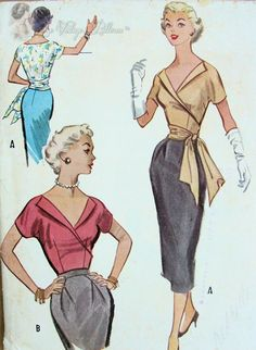1950s Bombshell Surplice Wrap Blouse Pattern With or Without Side Sash Low Open V Neckline Very Marilyn Monroe Style McCalls 9551