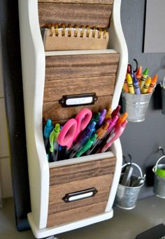Having my desk more in order makes me feel more productive - how about you? Use one of these ideas for a DIY desk organizer to help keep you in line. #DiyHomeDecor #DeskOffice #StorageIdeas #HomeDecorIdeas #HouseIdeas