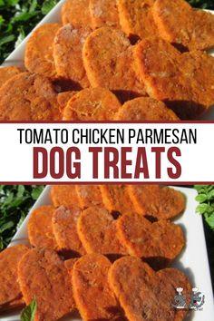 Tomato Chicken Parmesan Homemade Dog Treats, Healthy Dog Treats, Cheese Recipes, Chicken Recipes, Dog Cookies, Dog Treat Recipes, Biscuit Recipe, Vegetable Recipes, Parmesan