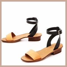 MADEWELL COLOR-BLOCK SANDALS Cute Chic stylish comfy leather color block sandals in a lovely classic Black and Tan soft leather. Comfy and versatile.   Gently worn. Scuffing on soles but otherwise in tip top condition.  Will consider reasonable offers. Madewell Shoes Sandals
