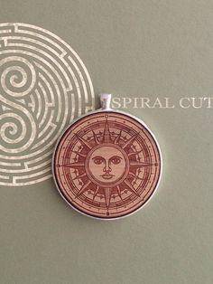 Sun Mandala Design Laser Engraved Wood Pendant Necklace