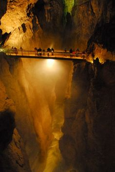 Škocjan Caves  Slovenia is home to impressive Škocjan Caves, one of the world's   largest canyon hidden deep underground. This outstanding formation is   considered a natural phenomenon of global significance, ranking side by   side with the Grand Canyon, the Great Barrier Reef, or the Galapagos   Islands.