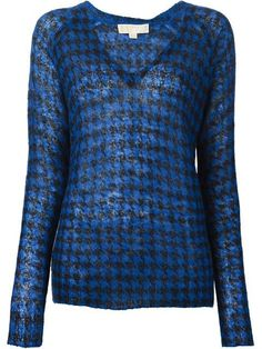 MICHAEL MICHAEL KORS Houndstooth Intarsia Sweater Cotton V-Neck Black and Blue