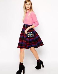 ASOS Premium Midi Skirt in Bonded Check at asos.com #skirt #women #covetme