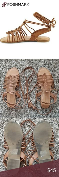 Size 9 gladiator sandals by madden girl Madden Girl by Steve Madden gladiator lace up sandals. Flat, no heels, strappy size 9 sandals.  Gently used, some natural color variation in the material. All man made, vegan leather.  Offers and questions are encouraged! Madden Girl Shoes Sandals