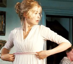 """""""Rosamund Pike is obsessed with ribbons. She carries two or three ribbons with her wherever she goes"""". (Joe Wright, Director) pride and prejudice Rosamund Pike, Pride And Prejudice 2005, Jane Austen Novels, Matthew Macfadyen, Mr Darcy, Classic Literature, Movies And Tv Shows, Pop Culture, Feminine"""