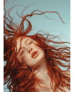 Red haired girl with wind in great pose with blue background ( Angelina Michelle ) Female Reference, Art Reference, Portrait Inspiration, Character Inspiration, Foto Pose, Art Model, People Photography, Look At You, Pictures To Draw