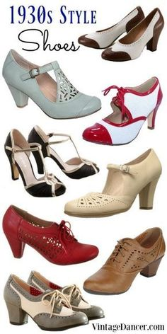1930s shoes, 1930s style shoes, thirties shoes, vintage inspired 30s heels and oxfords at vintagedancer.com