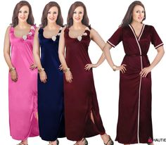 LADIES NIGHTIE NIGHTY WOMENS DESIGNER 2PC NIGHTWEAR ROBE SATIN NIGHTDRESS