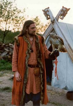 Viking tent, garb, falcon