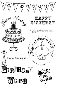 **FREE ViNTaGE DiGiTaL STaMPS**: FREE Digital Stamps - Happy Birthday sentiments