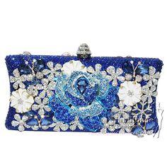 Handmade Swarovski Crystal Clutch Bags Something Blue Evening Bag Womens Shoulder Tote Handbag Messenger Satchel Medium Casual