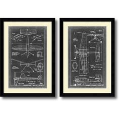 Artist: Vision Studio</li><li>Title: Aeronautic Blueprint III & IV- set of 2</li><li>Frame: Arqadia satin black 1.625-inch</li><li>Outside dimensions: 36.63 inches high x 25.63 inches wide
