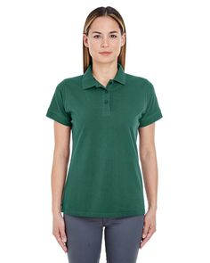 UltraClub Ladies' Basic Piqué Polo 8550L FOREST GREEN